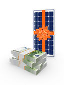 Stack of dollars and solar battery. — Stock Photo