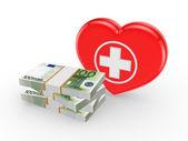 Stack av euron och symbol för medicin. — Stockfoto