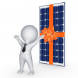 Happy 3d small person and solar battery. — Stock Photo #27766629