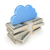 Cloud on a stack of dollars. — Stock Photo