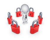 Röd lås runt orolig 3d person. — Stockfoto