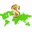 Sign of dollar on a map. — Stock Photo #27780859