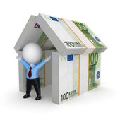 3d person under the roof of euro. — Stock Photo