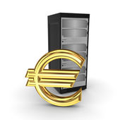 Server and symbol of euro. — Stock Photo