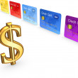 Sign of dollar and colorful credit cards. — Stock Photo
