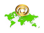 Copyright symbol on a map. — Stock Photo