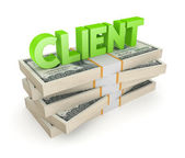 Word CLIENT on a stack of dollars. — Stock Photo