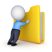 3d person and yellow folder. — Stock Photo