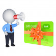3d person with megaphone and credit card. — Zdjęcie stockowe