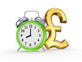 Green watch and symbol of pound sterling. — Stock Photo