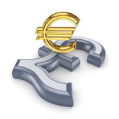 Pound sterling and euro. — Stock Photo