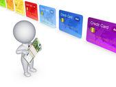 3d kişi ve renkli kredi kartları. — Stok fotoğraf