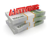 Word ANTIVIRUS on a stack of euro. — Stock Photo
