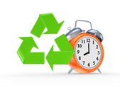 Sign of recycle and orange watch. — Stok fotoğraf