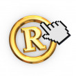 Stock Photo: Cursor and copyright symbol.