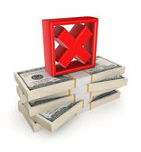Red cross mark on a stack of dollars. — Stock Photo