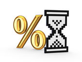 Percents symbol and icon of sandglass. — Stock Photo