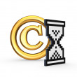 Symbol of copyright and sandglass icon. — Stock Photo
