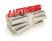 ドルのスタック上のウイルス対策の単語. — ストック写真