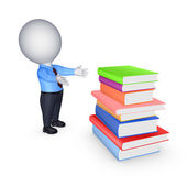 3d small person and big stack of colorful books. — Stock Photo