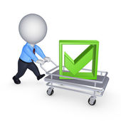 3d person with pushcart. — Stock Photo