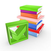 Colorful books and green tick mark. — Stock Photo