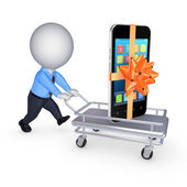 Mobile phone on a pushcart. — Stock Photo
