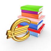Signo de euro y coloridos libros. — Foto de Stock