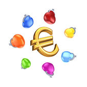 Colorful purses around sign of euro. — Stock Photo