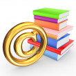 Stock Photo: Colorful books and symbol of copyright.