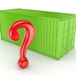 Stock Photo: Green container and query mark.