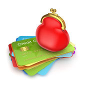 Red purse on colorful credit cards. — Stock Photo