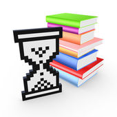 Sandglass icon and stack of colorful books. — Stok fotoğraf