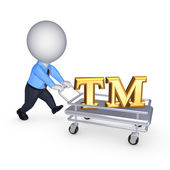 3d person with pushcart and TM symbol. — Stock Photo