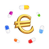 Colorful pills around sign of euro. — Stock Photo