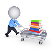 Stack of books on a pushcart. — Stock Photo