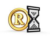 Symbol of copyright and sandglass icon. — Stock Photo