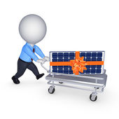 Solar battery on a pushcart. — Stock Photo