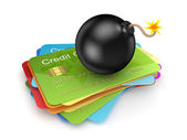 Black bomb on a stack of credit cards. — Stock Photo