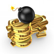 Black bomb and symbols of dollar. — Stock Photo