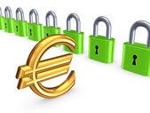 красочные замки и знак евро. — Стоковое фото