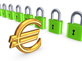 Barevné zámky a znak eura. — Stock fotografie
