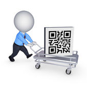 Symbol of QR code on pushcart. — Stock Photo