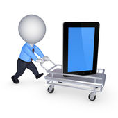 Tablet PC on a pushcart. — Stock Photo