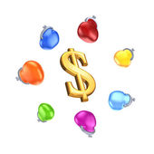 Colorful purses around symbol of dollar. — Stock Photo