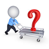 3d person with query mark on a pushcart. — Stock Photo