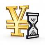icono de reloj de arena y el símbolo del yen — Foto de Stock