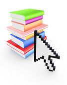 Cursor and colorful books. — Stock Photo