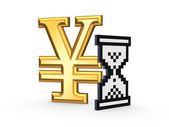 Sandglass icon and symbol of yen. — Stock Photo