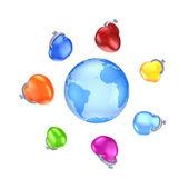 Colorful purses around globe. — Stock Photo